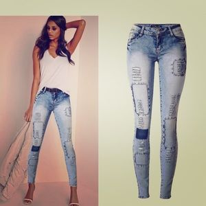 Faded stone wash patchwork high quality jeans